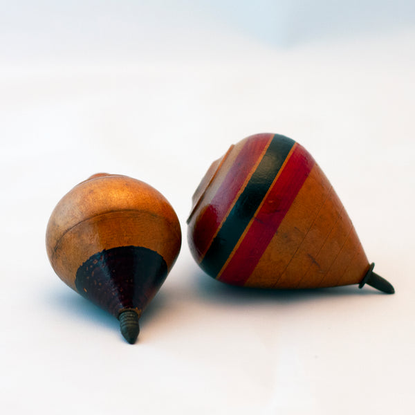 HAND PAINTED WOOD SPINNING TOPS Set of Two Circa 1930s to 1940s