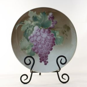 "K & G LUNÉVILLE FRENCH FAIENCE PLATE HAND PAINTED GRAPES 8 ½"" Circa 1900"