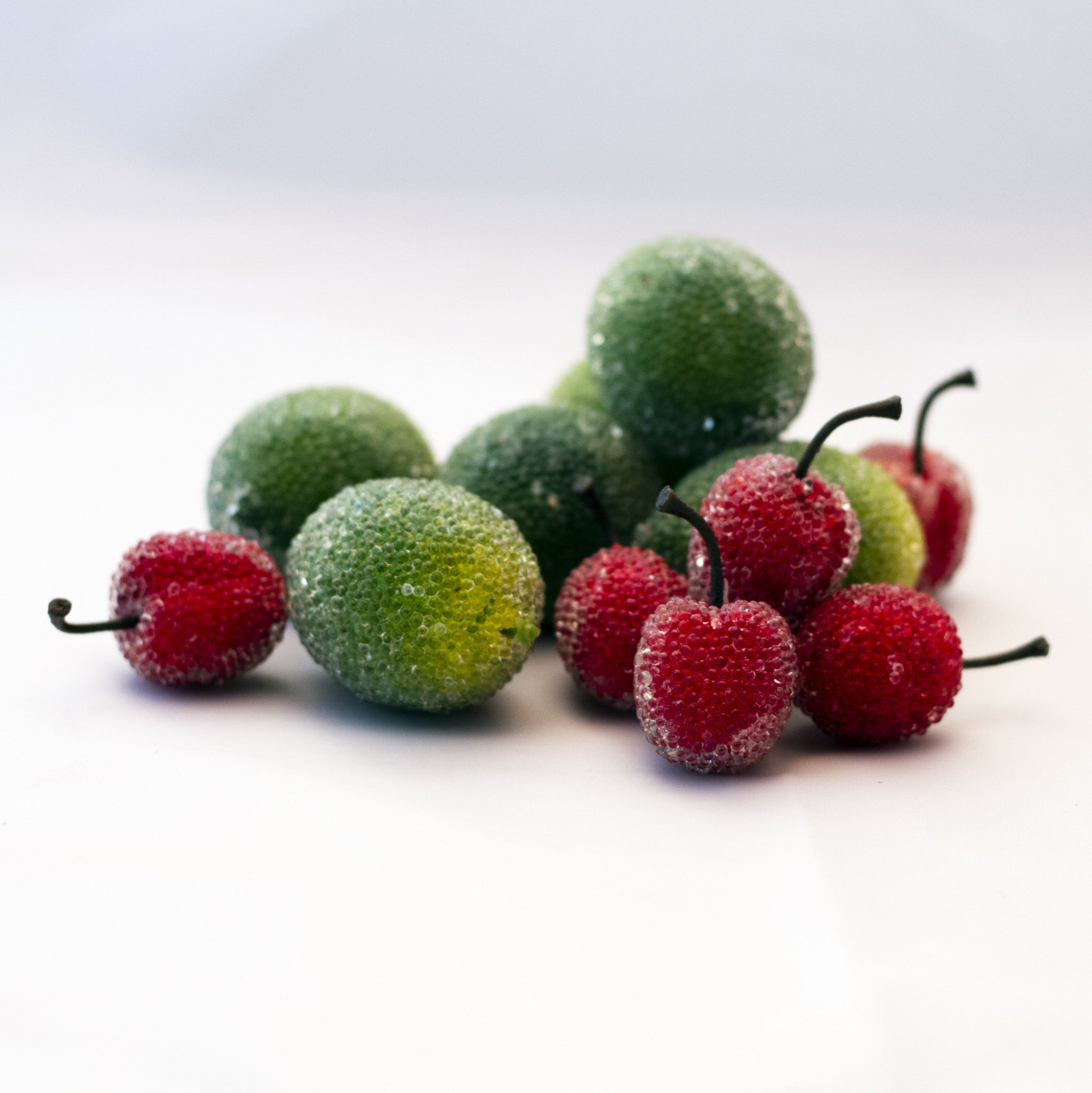 Mid-Century ICY BEADED ARTIFICIAL FRUIT LIMES AND CHERRIES  Set of Twelve (12)