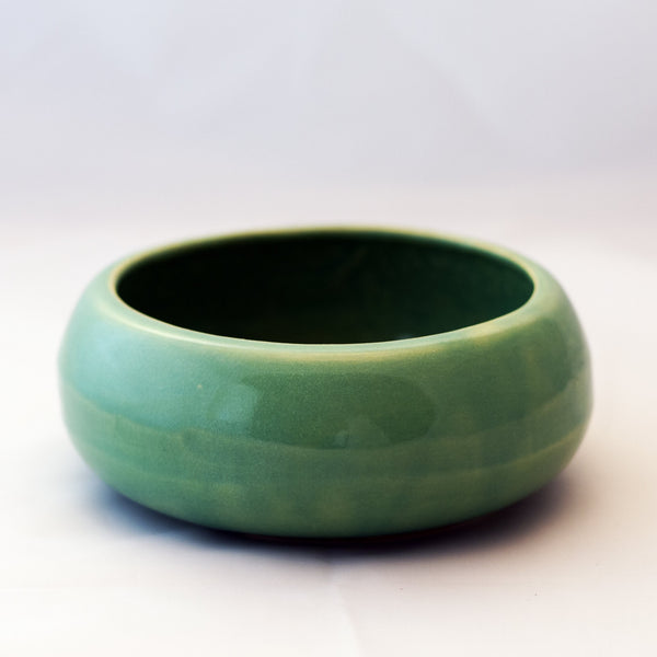 "Mid-Century Turquoise Blue Glaze RRP COMPANY 6"" SHALLOW BOWL"