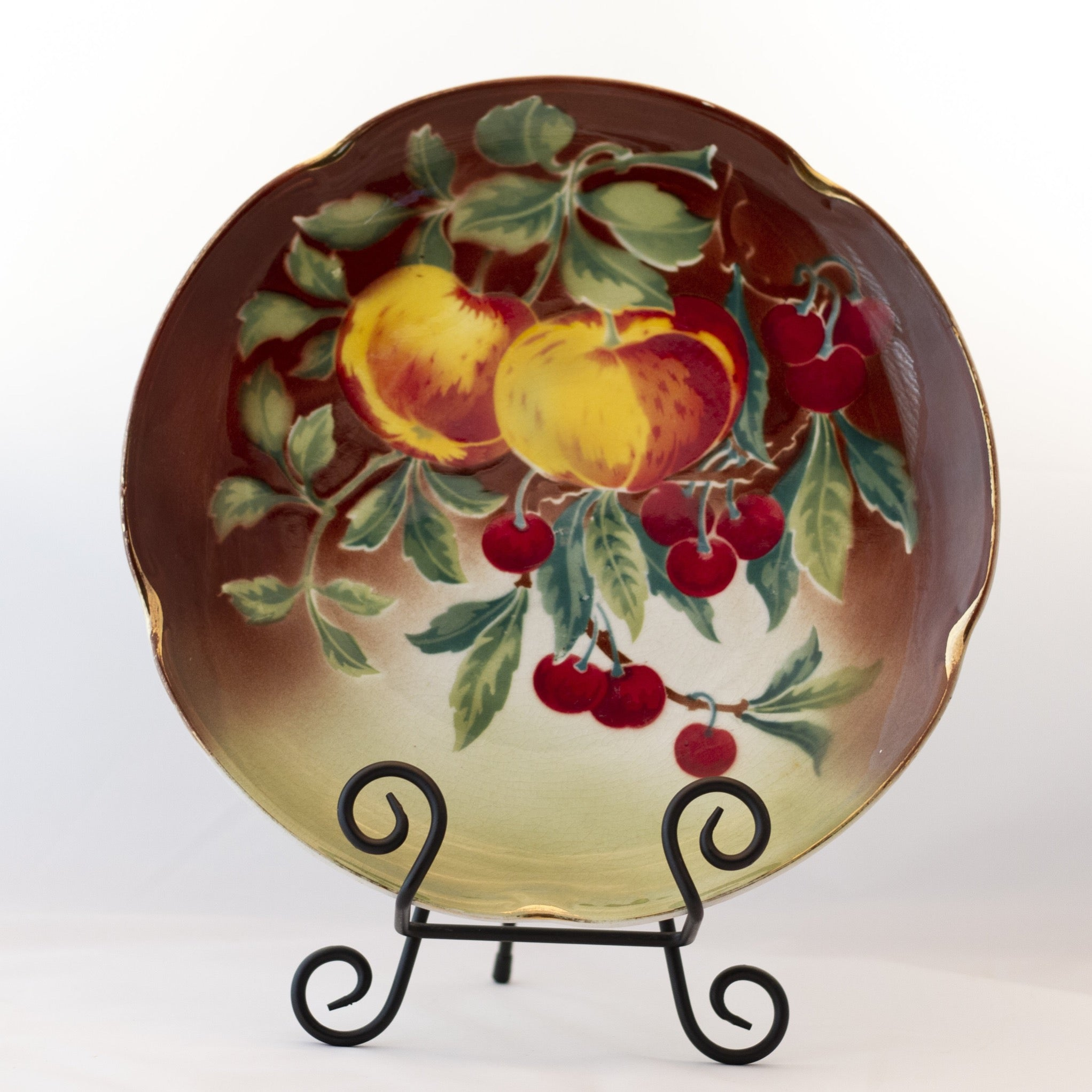 "K & G LUNÉVILLE FRENCH FAIENCE PLATTER HAND PAINTED APPLES AND PEARS 11 ¼"" Gold Gilt Rim Circa 1890"
