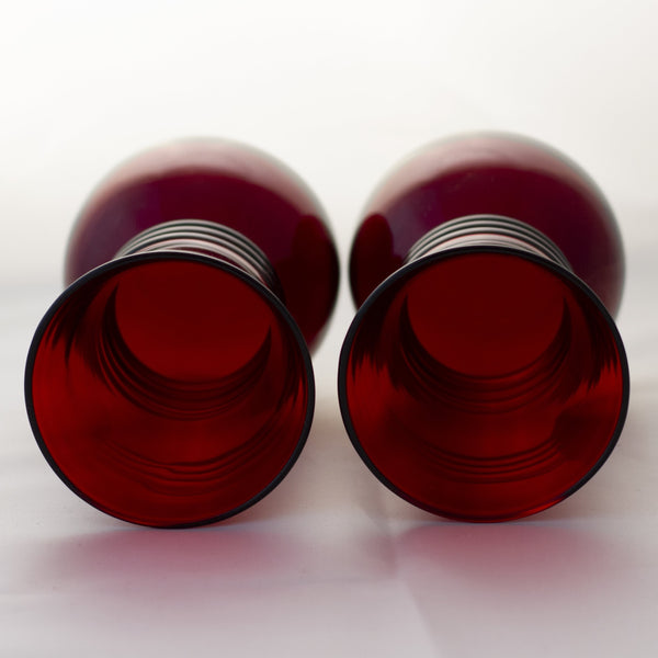 Mid-Century ROYAL RUBY TRIPLE RING FLARED VASES Anchor Hocking Set of Two (2)