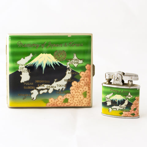 MEMORY OF JAPAN & KOREA CIGARETTE CASE and LIGHTER SET Pacific War of World War II Souvenir Circa 1945 - 1953