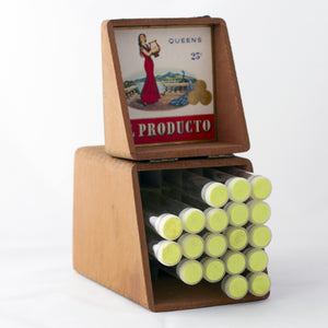 EL PRODUCTO QUEENS 25¢ WOOD CIGAR BOX WITH GLASS TUBES