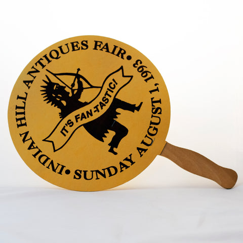 ADVERTISING HAND FAN from the INDIAN HILL ANTIQUES FAIR Cincinnati, OH