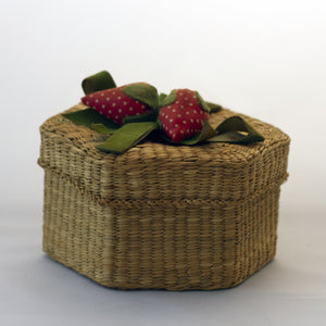WOVEN WICKER HEXAGON BASKET with Stuffed Fabric Strawberries Decorated Lid