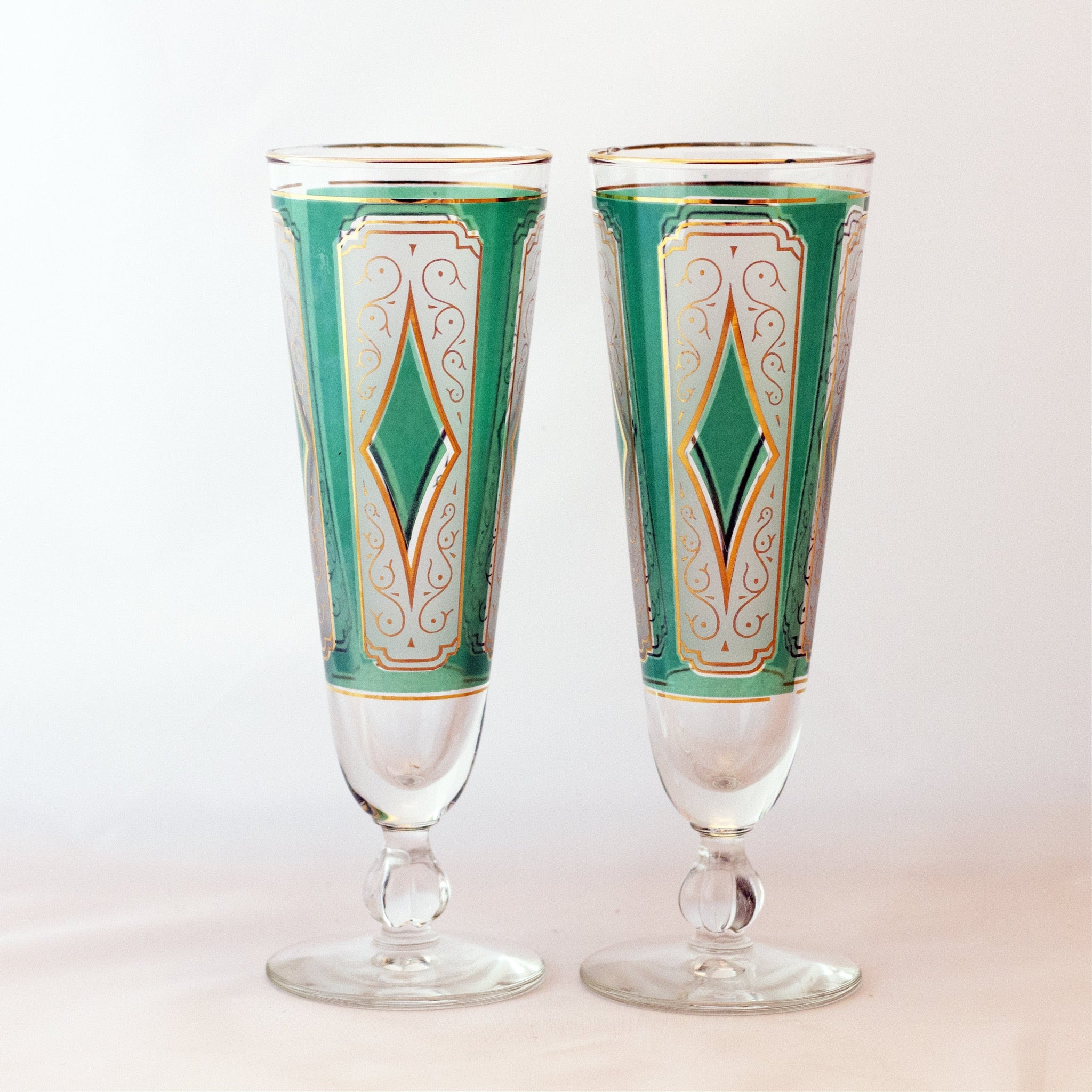 Libbey Glass Retro Barware EMERALD DIAMOND PILSNER GLASSES Set of Two Circa 1950s to 1960s