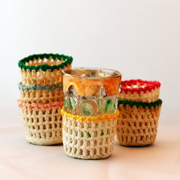 Vintage MULTI-COLORED RIM HAND CROCHETED DRINK SLEEVES