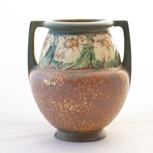 "Roseville Pottery DOUBLE-HANDLE DAHLROSE 8"" VASE #367-8 Circa 1920s"