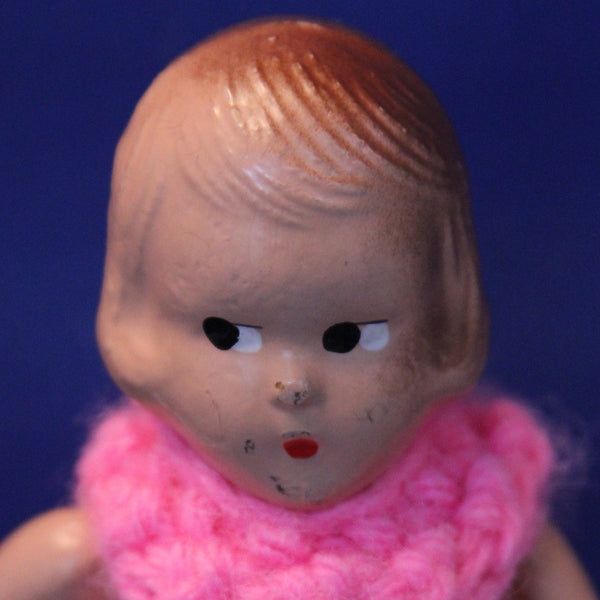 COMPOSITION DOLL with Molded Hair and Painted Face Circa 1930 to 1940