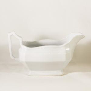 CLASSIC BLOCK OPTIC Antique Ironstone Sauce Boat by J & G Meakin Circa 1890