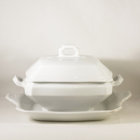 CLASSIC BLOCK OPTIC by J & G Meakin Antique Ironstone Square Covered Dish with Underplate Circa 1890