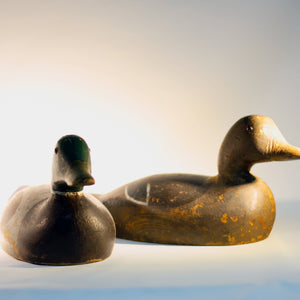 Lathe-Turned WOODEN MALLARD DUCK DECOY Pair Pascagoula Decoy Company Circa 1940s