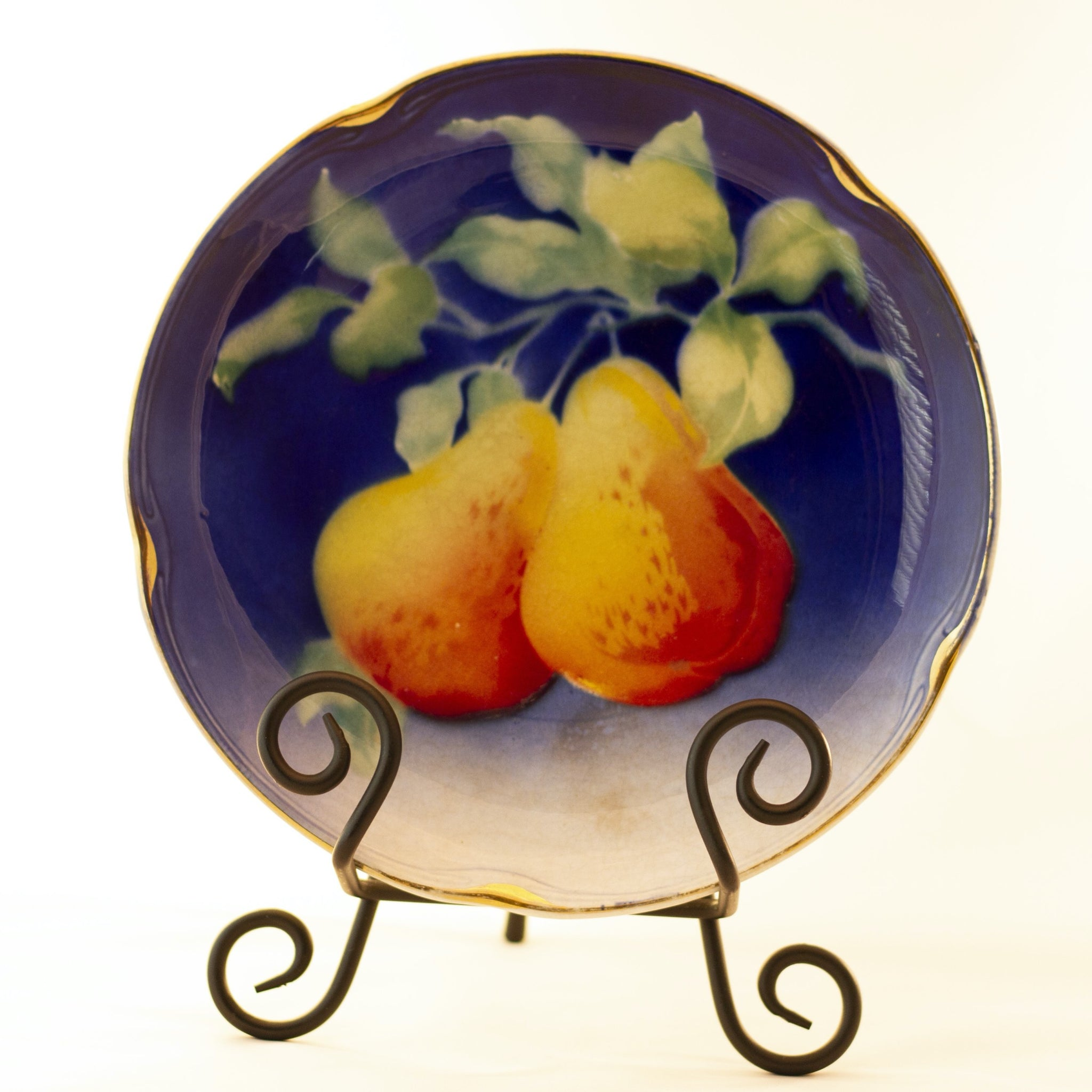 "K & G LUNÉVILLE FRENCH FAIENCE PLATE HAND PAINTED PEARS 8 ½"" Gold Gilt Rim Circa 1890"