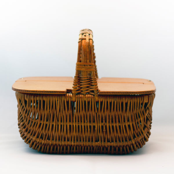 Natural RATTAN WICKER BASKET PURSE WITH HINGED WOOD LID Circa 1970s