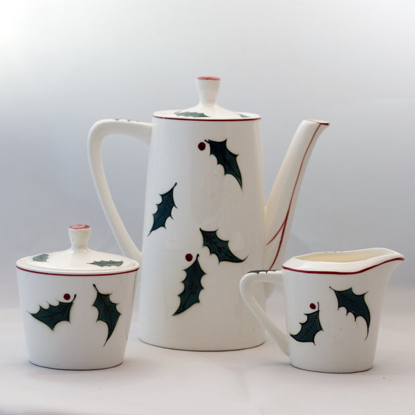 LEFTON'S CHRISTMAS TREE COFFEE SET Hand Painted Marked Japan 2887 & 2888