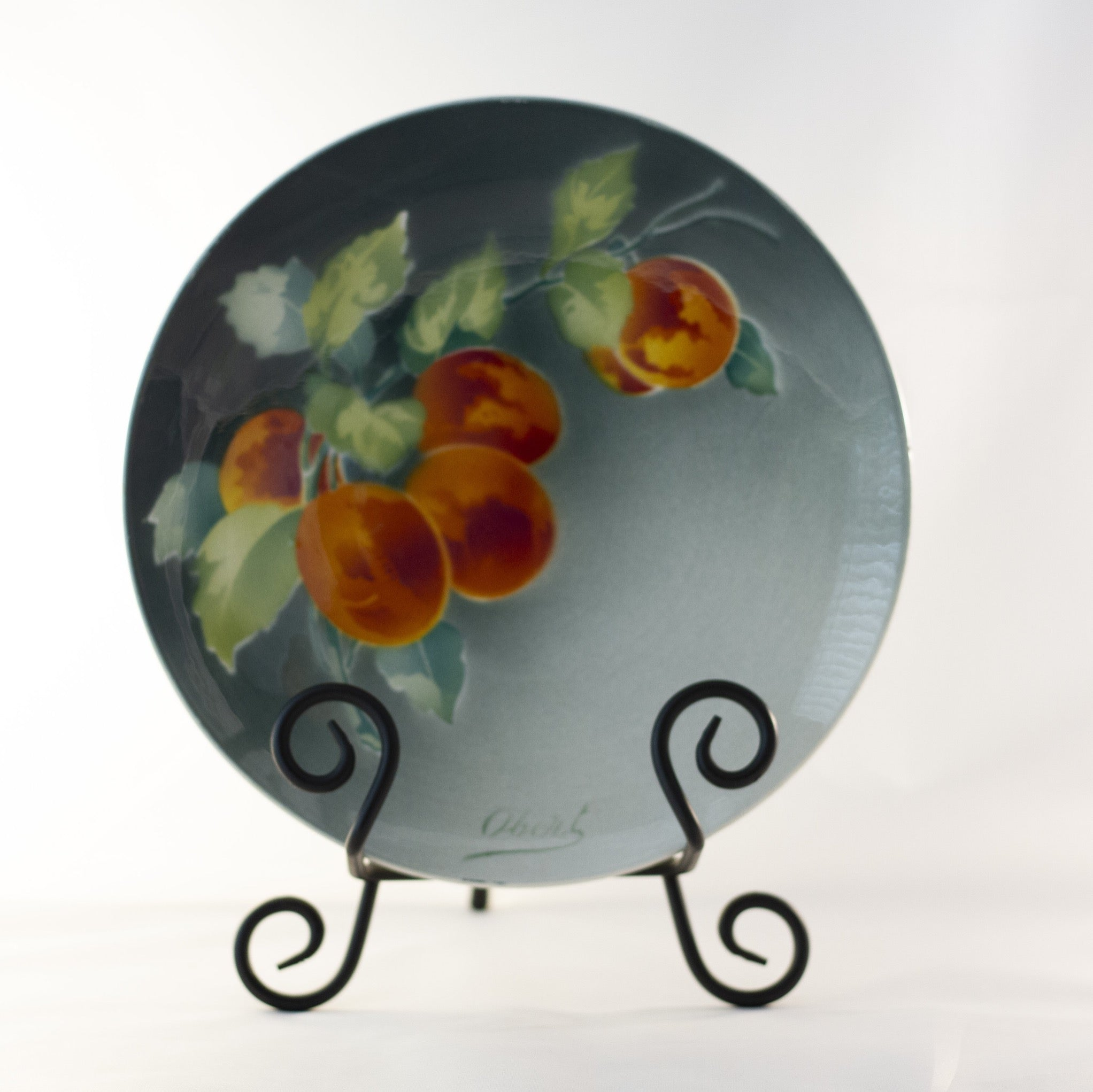 "K & G LUNÉVILLE FRENCH FAIENCE PLATE HAND PAINTED APRICOTS 8 ½"" Signed Obert Circa 1900"