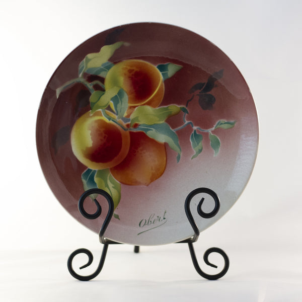 "K & G LUNÉVILLE FRENCH FAIENCE PLATE HAND PAINTED PEACHES 8 ½"" Signed Obert Circa 1900"