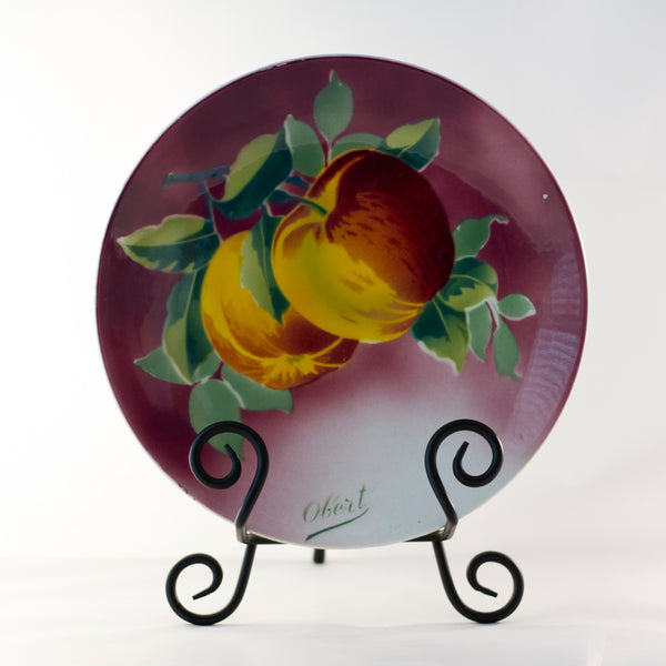"K & G LUNÉVILLE FRENCH FAIENCE PLATE HAND PAINTED APPLES 8 ½"" Signed Obert Circa 1900"