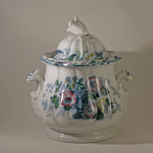 JACOB FURNIVAL IRONSTONE Covered Sugar Bowl or Utility Jar Circa 1850