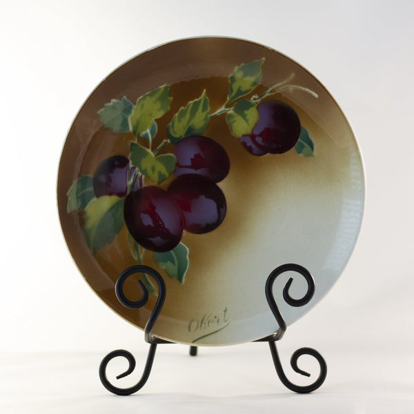 "K & G LUNÉVILLE FRENCH FAIENCE PLATE HAND PAINTED PLUMS 8 ½"" Signed Obert Circa 1900"