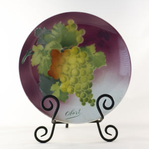 "K & G LUNÉVILLE FRENCH FAIENCE PLATE HAND PAINTED GRAPES 8 ½"" Signed Obert Circa 1900"
