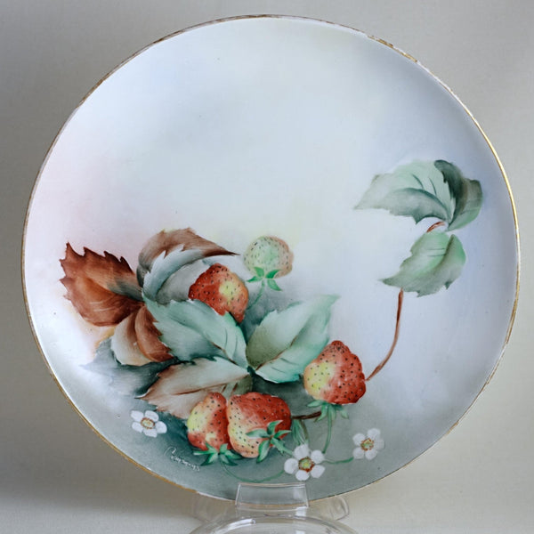 BoeM LIMOGES PORCELAN PLATE Hand Painted Plate with Strawberries Circa 1908 - 1914