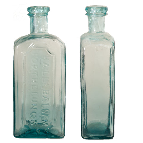Early HALL'S BALSAM FOR THE LUNGS Aqua Glass Bottle Circa 1860 - 1870