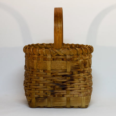 Handmade WOOD SPLINT WOVEN BASKET Marked 1992