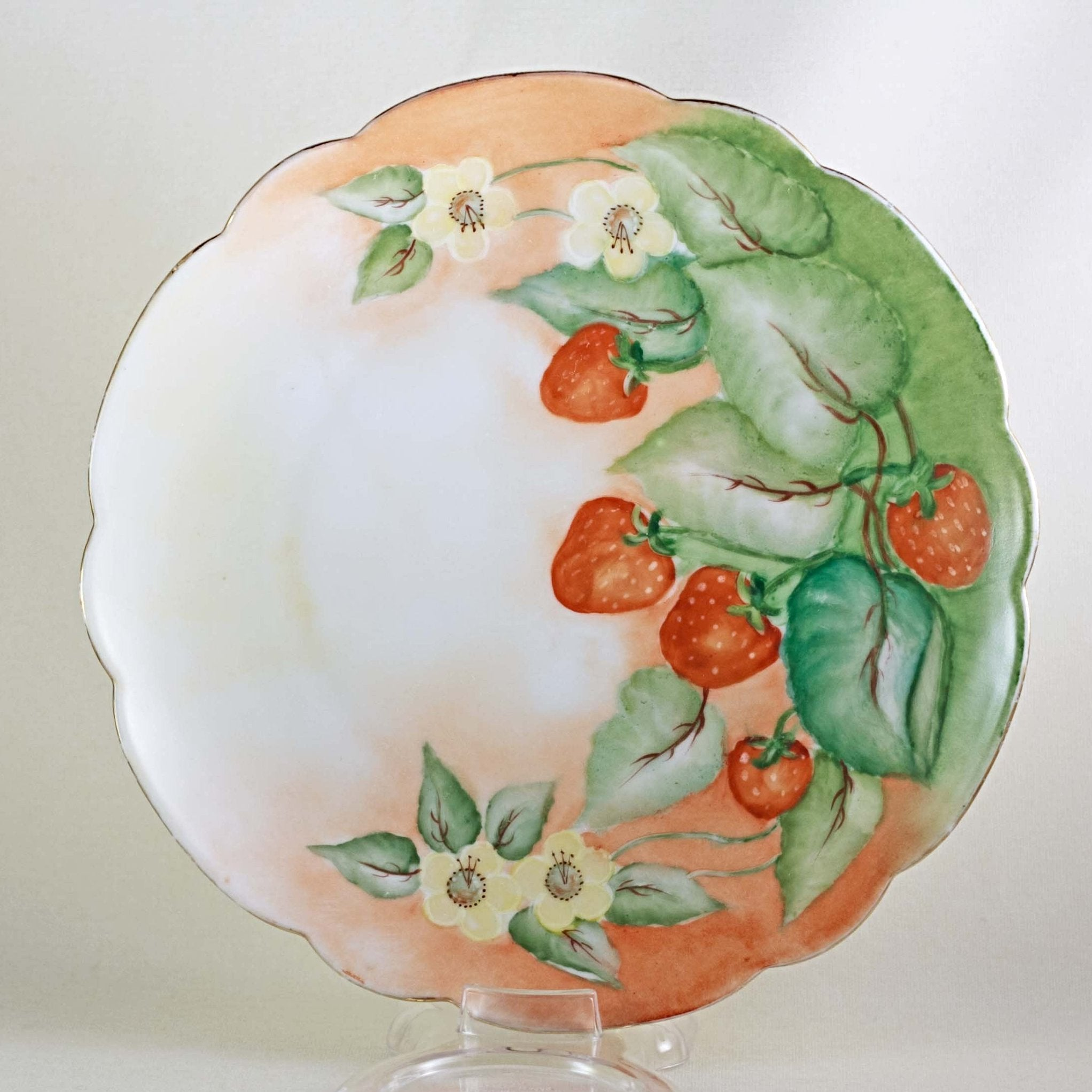 BAVARIA PORCELAIN PLATE Hand Painted with Strawberries and Blossoms Circa 1940s