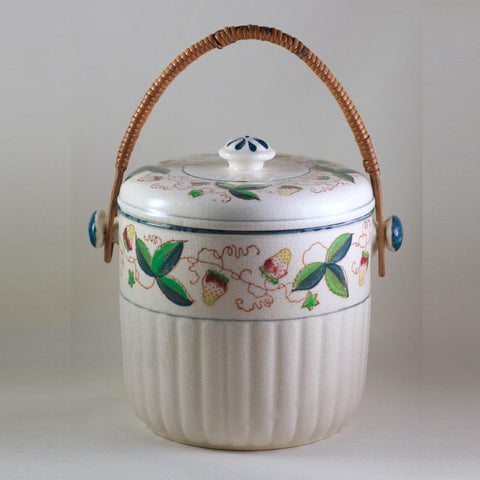MADE IN JAPAN BISCUIT JAR with Rattan Handle Circa 1940s
