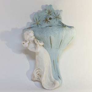 Vintage HOLY WATER FONT Depicting PRAYING GIRL AND FLOWER VESSEL Hand-Glazed Bisque