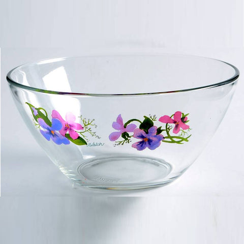 WILD VIOLETS COLLECTION By Avon Hand Painted Small Fruit Bowl Made in France 22K Gold