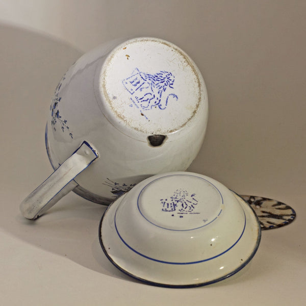ENAMEL WARE DECORATED BOWL AND PITCHER SET by Gebrüder Baumann Circa 1885 Marked with Rampant Lion Holding Tankard with B