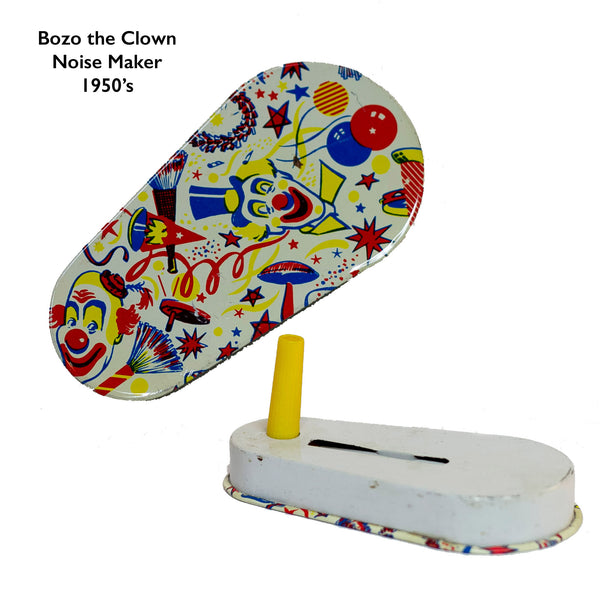 "This TIN-LITHOGRAPH RATCHET-STYLE BOZO THE CLOWN NOISEMAKER from the 1950s depicts clowns resembling ""Bozo the Clown"". The colors are festive and bright; background is filled with noisemakers, streamers, balloons and confetti. Handle is made of yellow plastic. Appears to be made by U.S. Metal Toy but not marked."