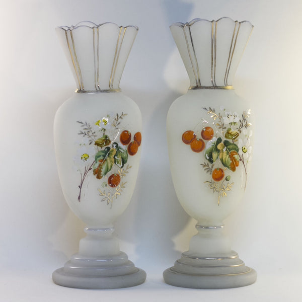Pair of Late 19th Century Victorian Era BRISTOL GLASS WHITE MANTLE VASES Hand-Painted Cherries and Blossoms
