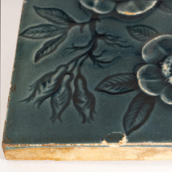 Antique MAW & COMPANY BROSELEY Raised Relief Decorative Tile Circa 1860