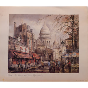 Paris – La Place du Tertre Lithograph Print by Brunet Marked © 1981 – Lutèce Edition – PARIS