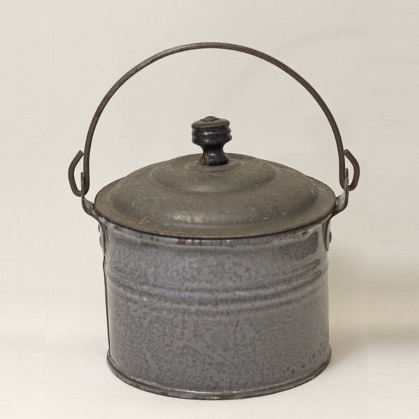 "Tiny Granite Ware 3"" Bucket with Lid - Possible Salesman Sample"