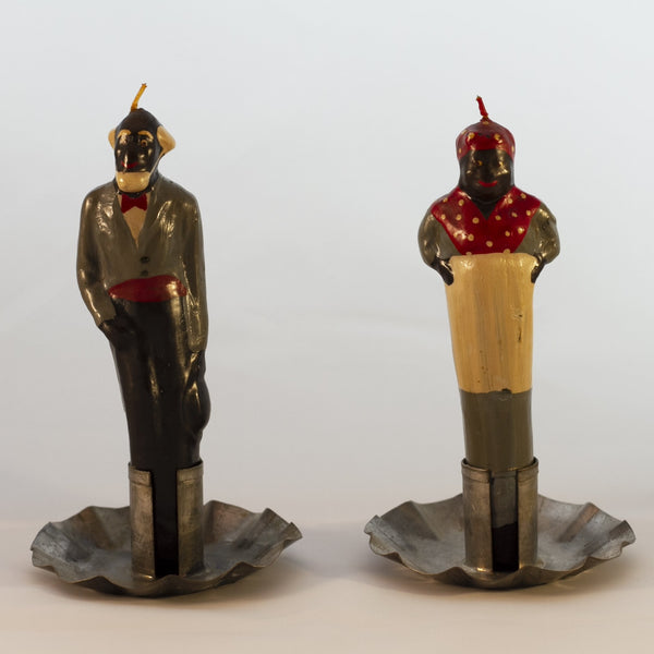 "Black Americana WAX CANDLE FIGURINE PAIR with Tin Holder 5 3/4"" Tall"