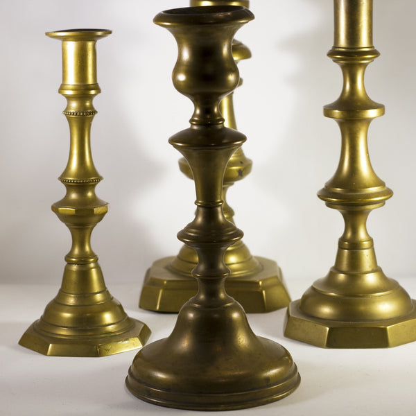 Set of Four Antique English Victorian BRASS CANDLESTICKS Late 19th Century
