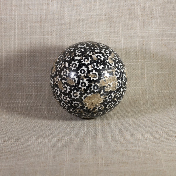 "Antique VICTORIAN CARPET BALL with Black Glaze Stick-Spatter Star Design 3"" Circa 1860 - 1890"