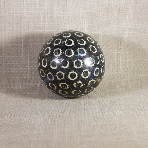 "Antique VICTORIAN CARPET BALL with Black Stick-Spatter Star Design 3 ¼"" Circa 1860 - 1890"