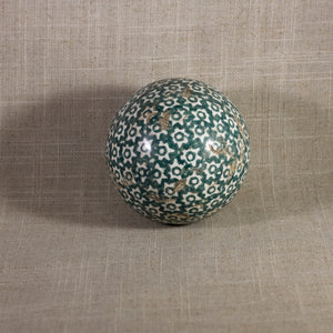 "Antique VICTORIAN CARPET BALL with Green Glaze Stick-Spatter Star Design 3"" Circa 1860 - 1890"