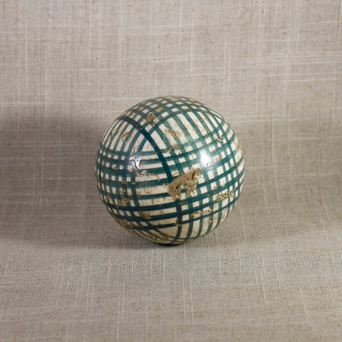 "Antique VICTORIAN CARPET BALL with Green Glaze Multiple Crossbands Design 3"" Circa 1860 - 1890"