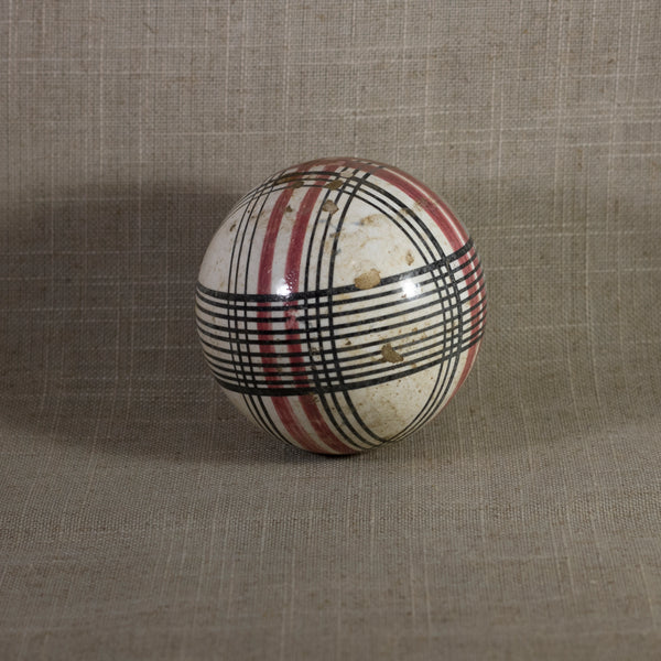 "Antique VICTORIAN CARPET BALL with Rare Red and Black Glaze Plaid Design 3"" Circa 1860 - 1890"
