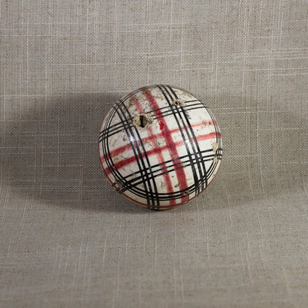 "Antique VICTORIAN CARPET BALL with Rare Red and Black Glaze Plaid Design 2 ¾"" Circa 1860 - 1890"