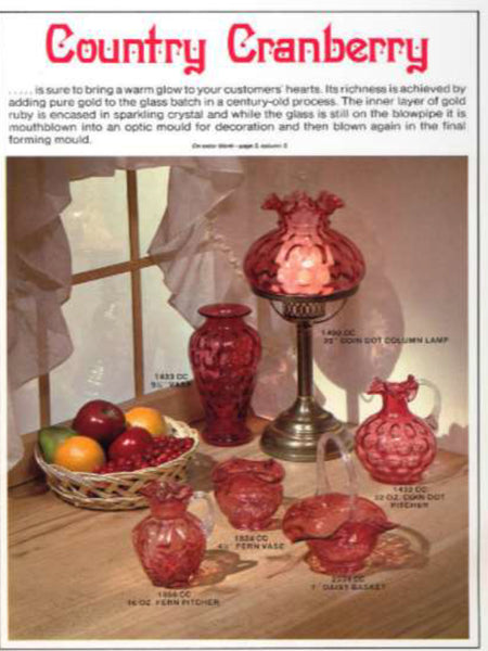 FENTON CRANBERRY GLASS January 1982 Catalog