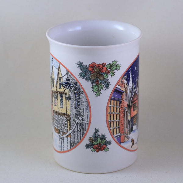 DUNOON SUE SCULLARD Bone China Mug Christmas Village with Tabby Cat