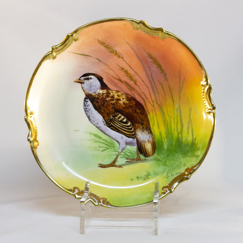 Antique George Borgfeldt Coronet LIMOGES PHEASANT CHARGER PLATE Signed By L. Coudert Made in France